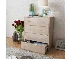 vidaXL Buffet avec 4 tiroirs 60 x 30,5 x 71 cm Couleur de chêne