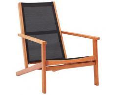 vidaXL Chaise de jardin Noir Bois d'eucalyptus solide et textilène