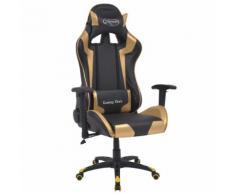 vidaXL Chaise de bureau inclinable Cuir artificiel Doré
