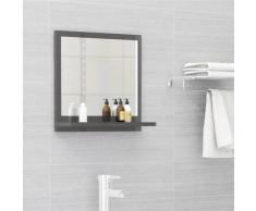 vidaXL Miroir de salle de bain Gris brillant 40x10,5x37 cm Aggloméré