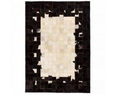 vidaXL Tapis Cuir véritable Patchwork 80 x 150 cm Carré Noir/Blanc