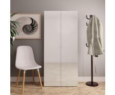 vidaXL Armoire à chaussures Blanc brillant 80x35,5x180 cm Aggloméré