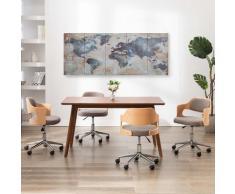 vidaXL Ensemble de tableau sur toile Carte du monde Bleu 200x80 cm