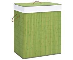 vidaXL Panier à linge Bambou Vert 100 L
