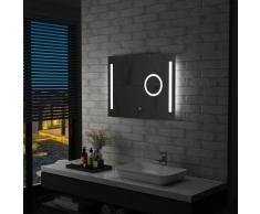 vidaXL Miroir mural à LED de salle de bain et capteur tactile 80x60 cm