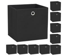 vidaXL Boîte de rangement 10 pcs Tissu non-tissé 32 x 32 x 32 cm Noir