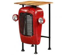 vidaXL Table de bar Bois de manguier massif 60x60x107cm Rouge Tracteur
