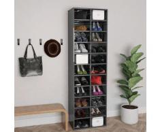 vidaXL Armoire à chaussures Gris brillant 54x34x183 cm Aggloméré