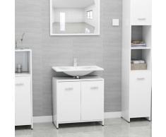 vidaXL Armoire de salle de bain Blanc brillant 60x33x58 cm Aggloméré