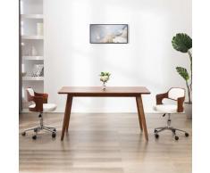 vidaXL Chaise pivotante à dîner Blanc Bois courbé et similicuir
