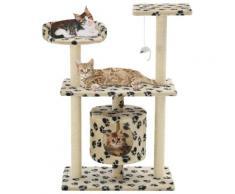 vidaXL Arbre à chat avec griffoir en sisal 95 cm Beige Motif de pattes