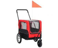 vidaXL Remorque de vélo pour chiens et poussette 2-en-1 Rouge et noir