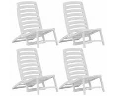 vidaXL Chaise de plage pliable pour enfants 4 pcs Plastique Blanc