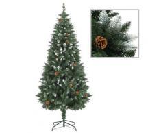 vidaXL Sapin de Noël avec pommes de pin et paillettes blanches 180 cm