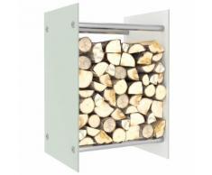 vidaXL Portant de bois de chauffage Blanc 40x35x60 cm Verre