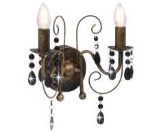 vidaXL Applique murale à perles Noir antique 2 ampoules E14