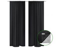 vidaXL Rideau occultant 2 pcs à double couche 140 x 245 cm Noir