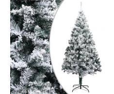 vidaXL Sapin de Noël artificiel avec neige floquée Vert 210 cm PVC