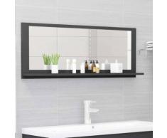vidaXL Miroir de salle de bain Gris 100x10,5x37 cm Aggloméré