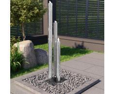vidaXL Fontaine de jardin Argenté 48x34x153 cm Acier inoxydable
