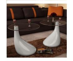 vidaXL Table basse et dessus de table Verre rond Blanc brillant 2 pcs