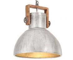 vidaXL Lampe suspendue industrielle 25 W Argenté Rond 40 cm E27