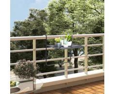 vidaXL Table de balcon Noir 60x40 cm Acier