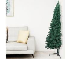 vidaXL Sapin de Noël artificiel moitié avec support Vert 180 cm PVC