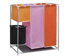 vidaXL Panier à linge à 3 sections avec un bac de lavage