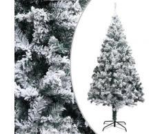 vidaXL Sapin de Noël artificiel avec neige floquée Vert 180 cm PVC