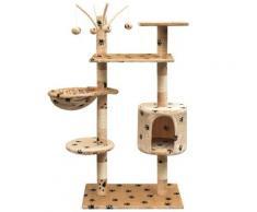 vidaXL Arbre à chat et griffoir Sisal 125 cm Empreintes de pattes Beige