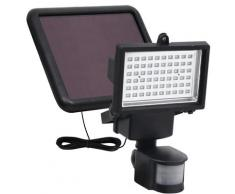 vidaXL Projecteur à LED solaire de jardin avec capteur Noir