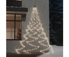 vidaXL Arbre mural avec crochet métallique 260 LED Blanc chaud 3 m