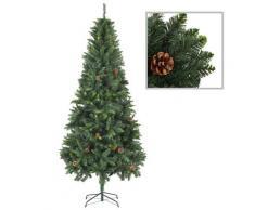 vidaXL Sapin de Noël artificiel avec pommes de pin Vert 210 cm
