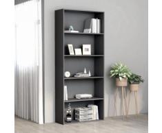 vidaXL Bibliothèque à 5 niveaux Gris 80x30x189 cm Aggloméré