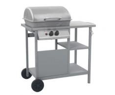 vidaXL Barbecue à gaz avec tablette à 3 couches Noir et argenté