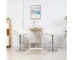 vidaXL Chaise de bar avec accoudoir Blanc Similicuir