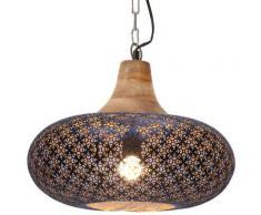 vidaXL Lampe suspendue industrielle Noir Fer et bois solide 40 cm E27