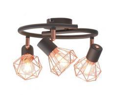 vidaXL Plafonnier avec 3 projecteurs E14 Noir et cuivre