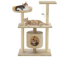 vidaXL Arbre à chat avec griffoir en sisal 95 cm Beige