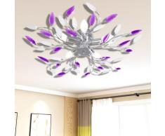 vidaXL Plafonnier avec bras en acrylique Violet et blanc 5ampoules E14