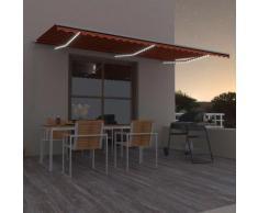 vidaXL Auvent manuel rétractable avec LED 600x300 cm Orange et marron