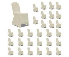 vidaXL Housses élastiques de chaise Crème 30 pcs