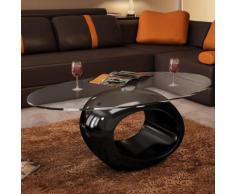 vidaXL Table basse avec dessus de table en verre ovale Noir brillant