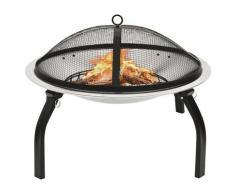 vidaXL Foyer et barbecue avec tisonnier 2 en 1 56x56x49 cm Inox