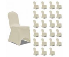 vidaXL Housses élastiques de chaise Crème 24 pcs