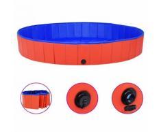 vidaXL Piscine pliable pour chiens Rouge 200x30 cm PVC