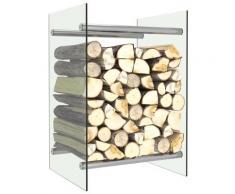 vidaXL Portant de bois de chauffage Transparent 40x35x60 cm Verre