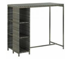 vidaXL Table de bar avec rangement Gris 120x60x110 cm Résine tressée