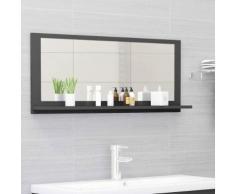 vidaXL Miroir de salle de bain Gris 90x10,5x37 cm Aggloméré